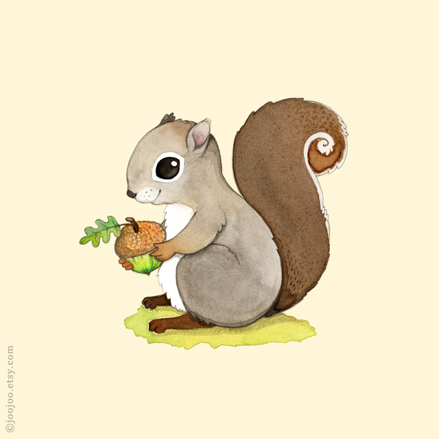 Squirrel Watercolor painting
