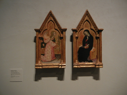 DSCN7978 _ The Archangel Gabriel, 1388, & The Virgin of the Annunciation, 1388, Bartolo di Fredi (c. 1330-1410), LACMA