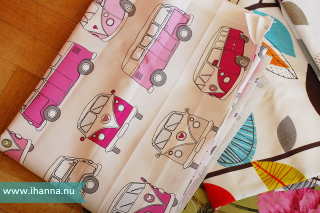 Campervans Curtain Fabric Pink