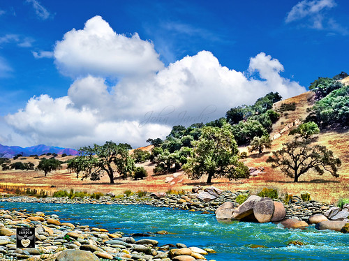 california blue trees sky sunlight green nature water clouds river landscape gold oak view bright hills vista