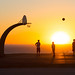 Boys playing basketball - Point Fermin Park sunset