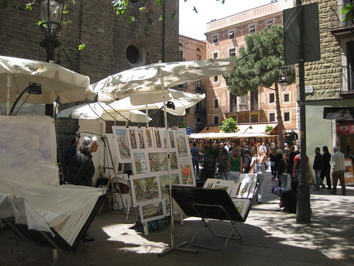Painters and artists in Plaça del Pi. From Foodie Finds: Exploring Barcelona, One Bite at a Time