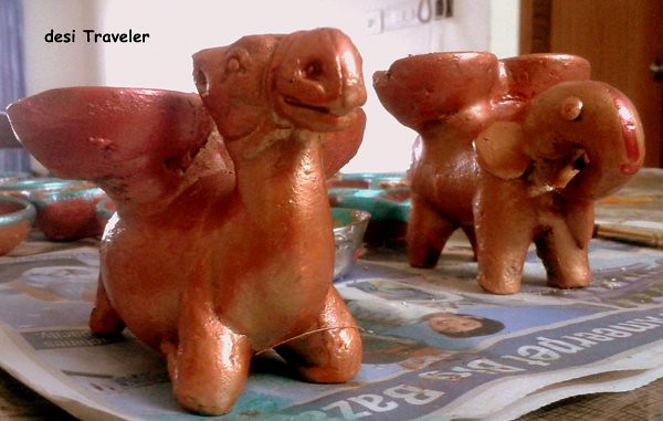 Camel and Elephant shaped Diyas Diwali Earthen lamps