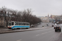 Moscow tram #1269 on route 3 approaches the Большой Устьинский мост (Bolshoy Ustinsky Bridge)