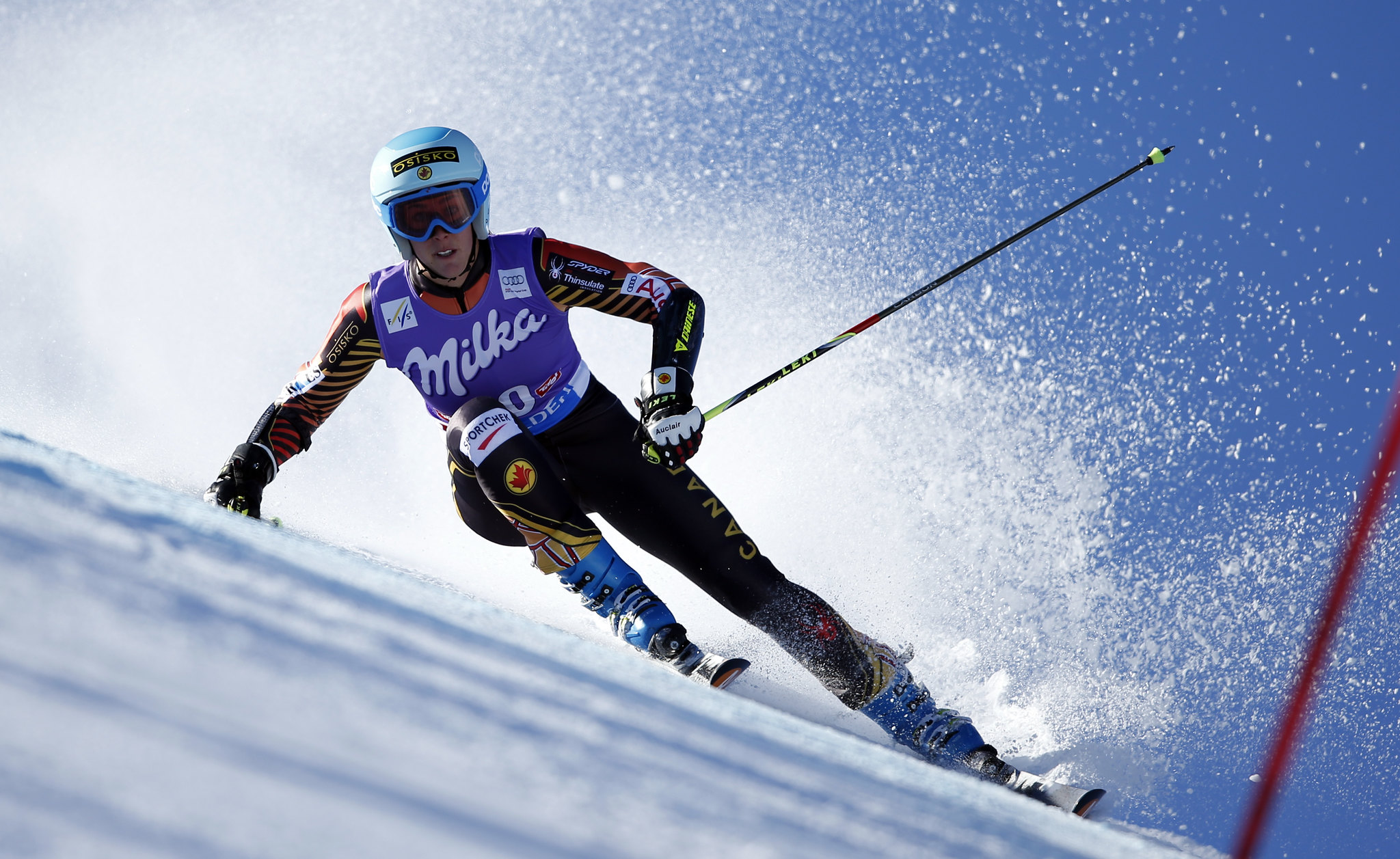 Gagnon kicks up some spray in Solden, AUT during the first giant slalom event of the season.