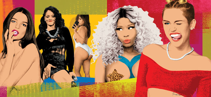 An illustration from Glamour puts together sexy images of Miley Cyrus, Nicki Minaj, and others