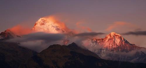 longexposure nepal south annapurna dakshin tadapani sunsey
