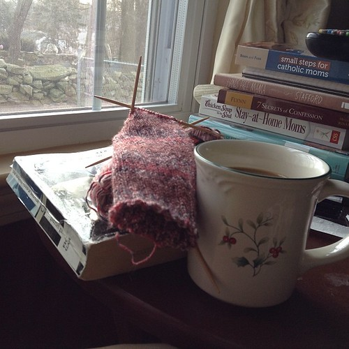 Changed the Sunday routine up a bit this week. That means there is time for a second cup of coffee, some reading AND knitting.