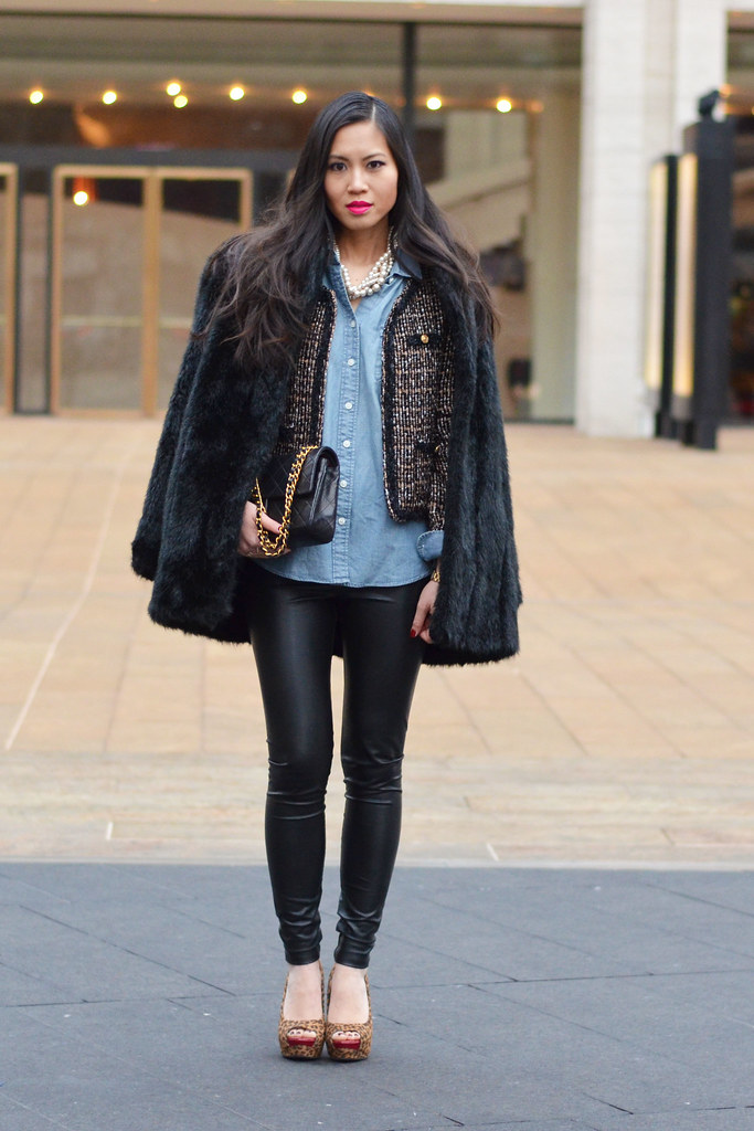 NYFW MBFW February Fall/Winter 2014 street style: layered black faux fur coat, tweed blazer, chambray shirt, leather pants