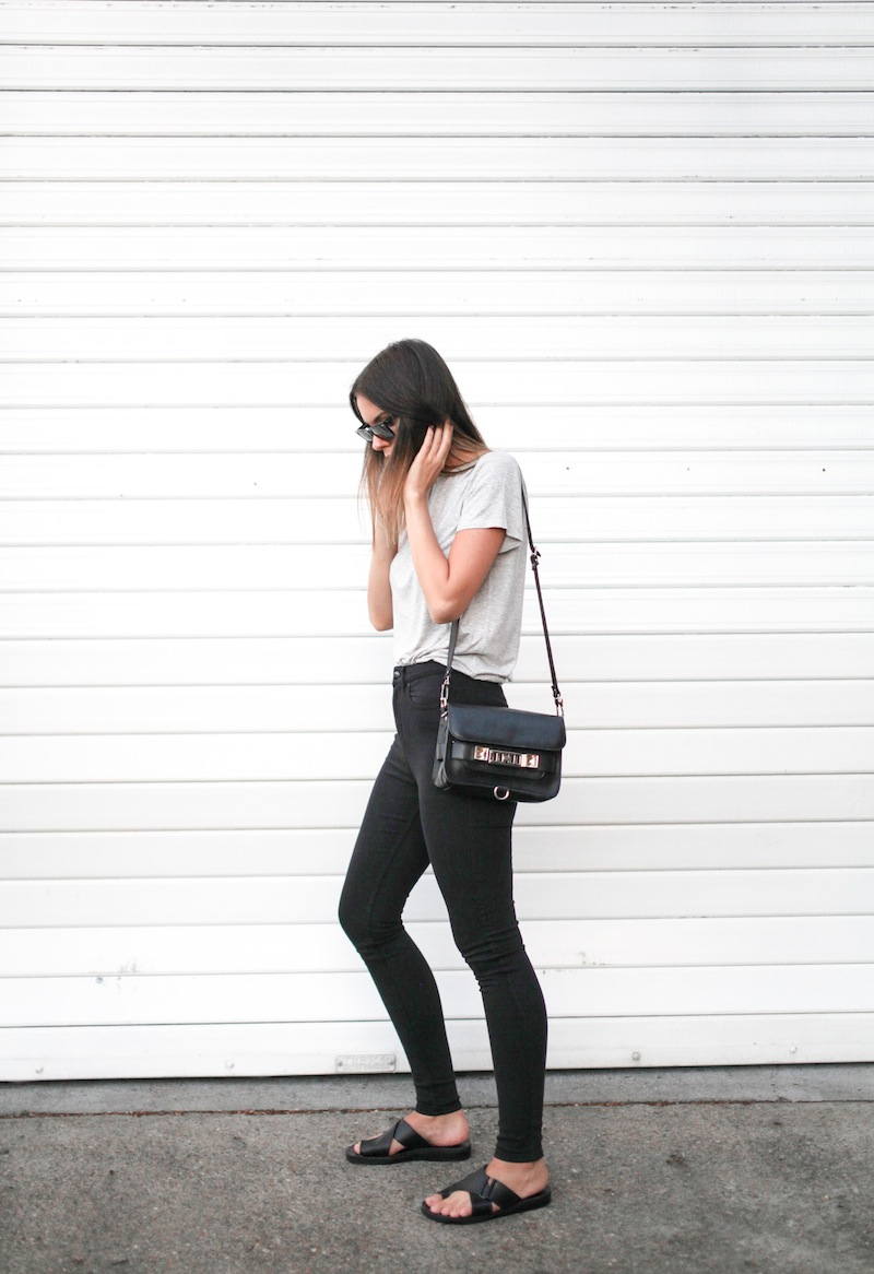 modern legacy fashion blog australia street style grey boyfriend tee t shirt high waisted jeans Proenza Schouler PS11 mini classic bag slide sandals Ray Ban Oversized Wayfarers (1 of 1)
