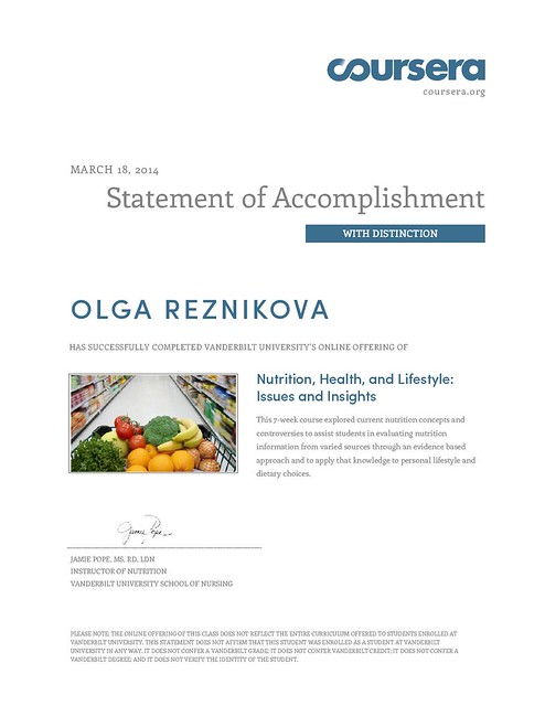 Coursera Nutrition course
