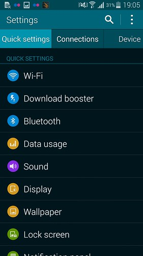 Settings ของ Samsung Galaxy S5 แบบ Tab View
