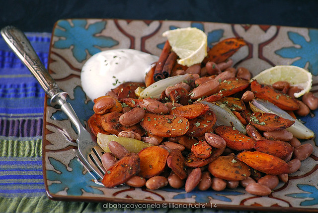 Spicy beans with roasted carrots