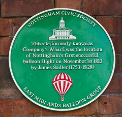Photo of James Sadler green plaque