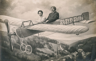 Mr. and Mrs. Perrier in a flying machine.  Paris Oct. 18th 1912.  RPPC
