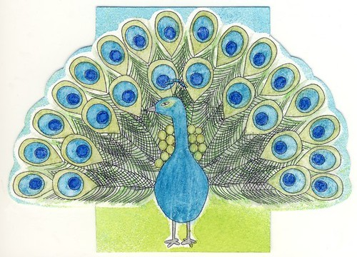 Colourful Birds series #1 - Peacock ATC