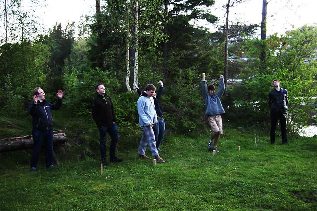 Kubb-vinnarar. Foto: Kjersti Johanne Nybø