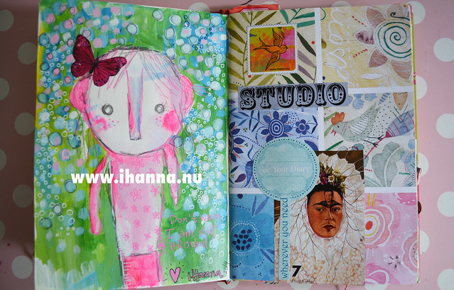 Art Journal Spread: Butterfly girl and Frida in the Studio, by iHanna