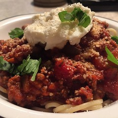 Spaghetti and meat sauce with fresh basil and ricotta! What WAS for dinner!