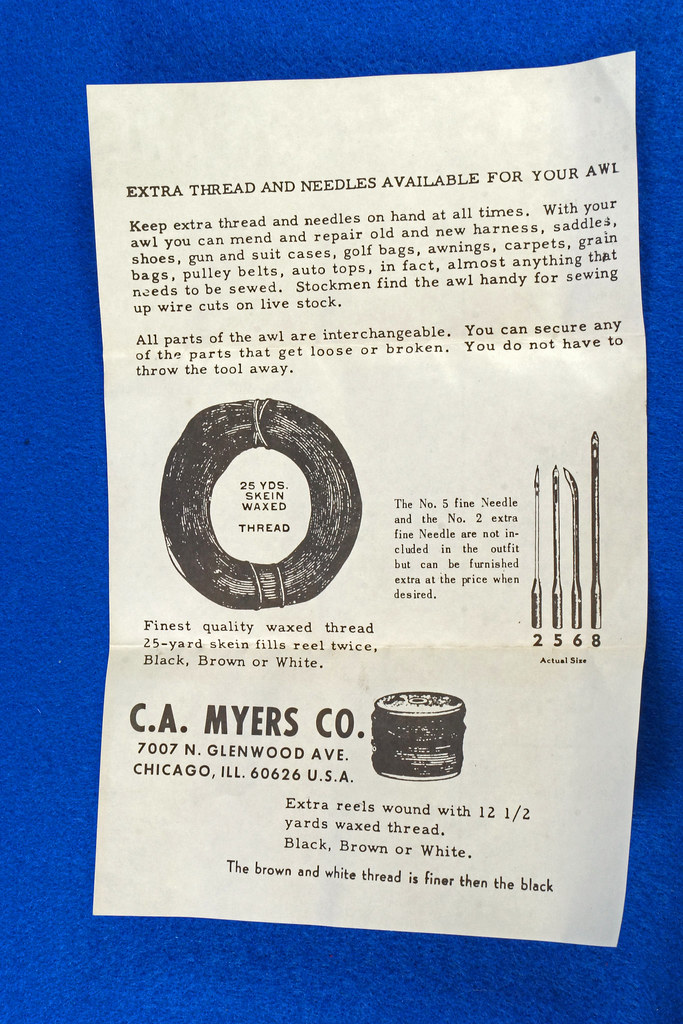RD15044 C A Myers Co Famous Lock Stitch Sewing AWL Vintage Leather Tool in Original Box with Instructions DSC08816