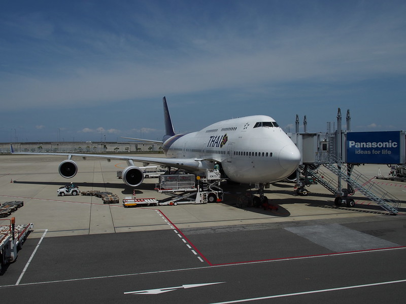 TG B747 in Kansai International Airport