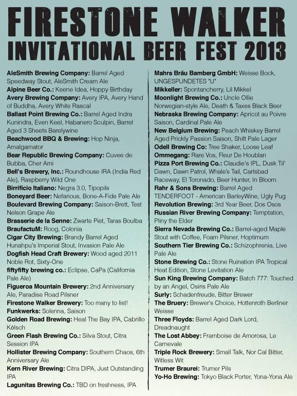 Firestone Walker Invitational Beer Festival lineup