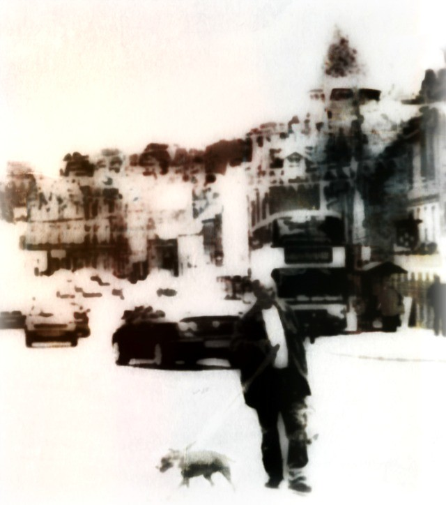 One Man and his dog hit the town..photo art.