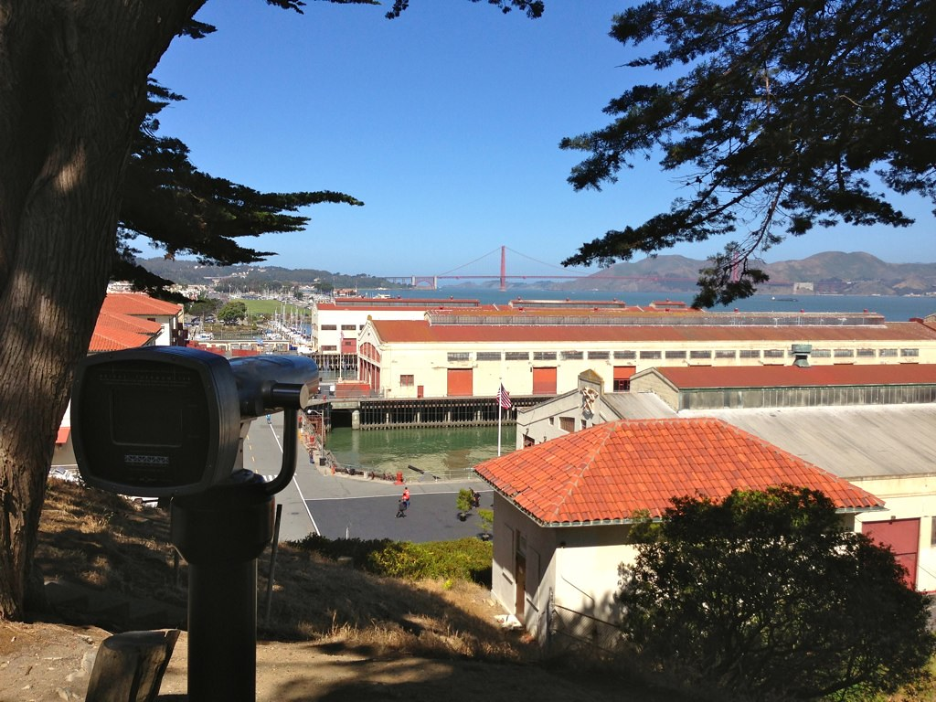 View of Golden Gate Bridge over Fort Mason