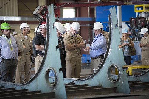 CNO, Adm.Greenert tours Marinette Marine Corporation shipyard to view the construction of multiple Freedom-class variants