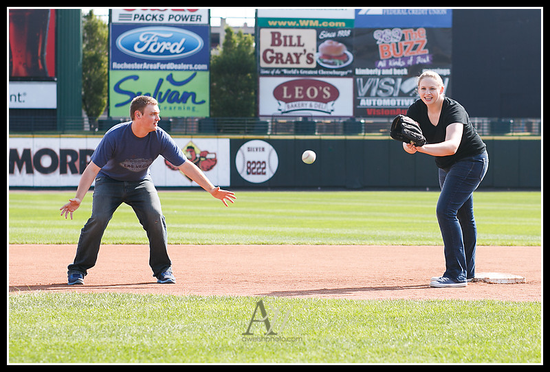 Rochester NY Engagement Wedding Photographer Andrew Welsh Frontier Field baseball Red Wings