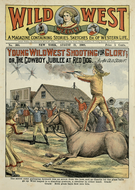 Young Wild West Shooting for Glory, or, The Cowboy Jubilee at Red Dog, Wild West Weekly, 1908