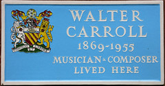 Photo of Walter Carroll blue plaque