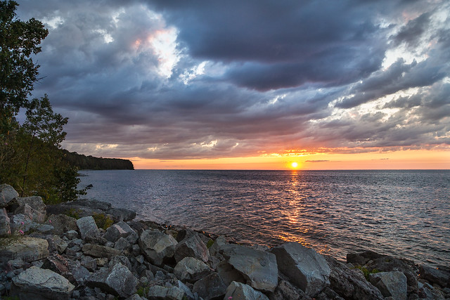 Door County, Sunset, Rocks, Water, Clouds, Sky
