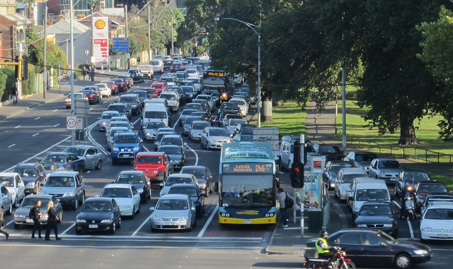 Buses stuck in Punt Road traffic