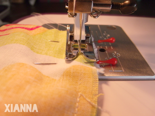 sewing straps to the lunch backpack
