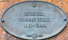Photo of Durham Cathedral Grammar School bronze plaque