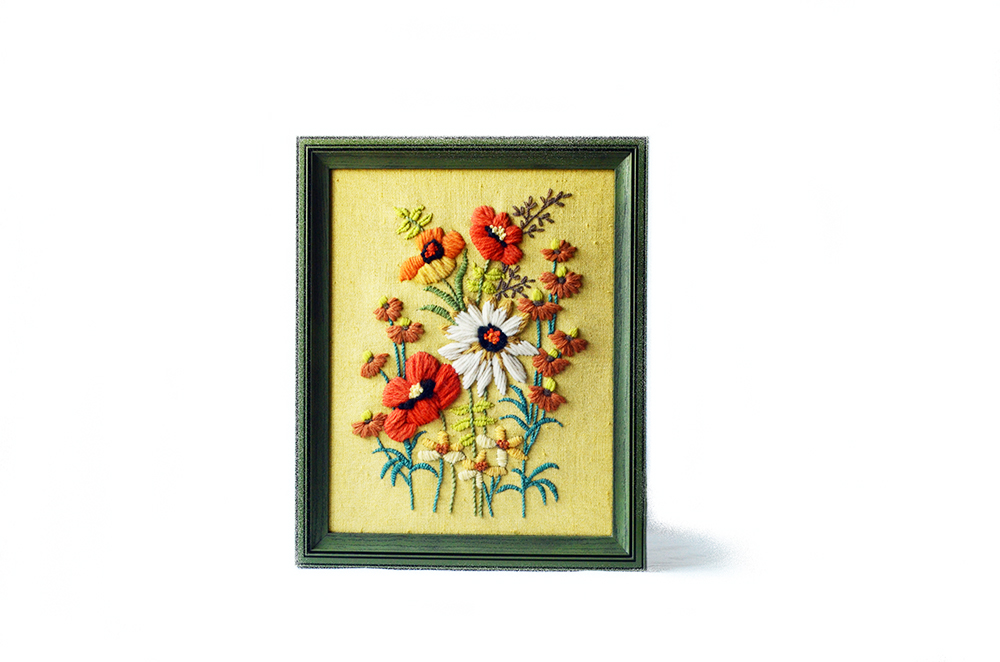 Framed Vintage Yellow and Floral Crewel Embroidery