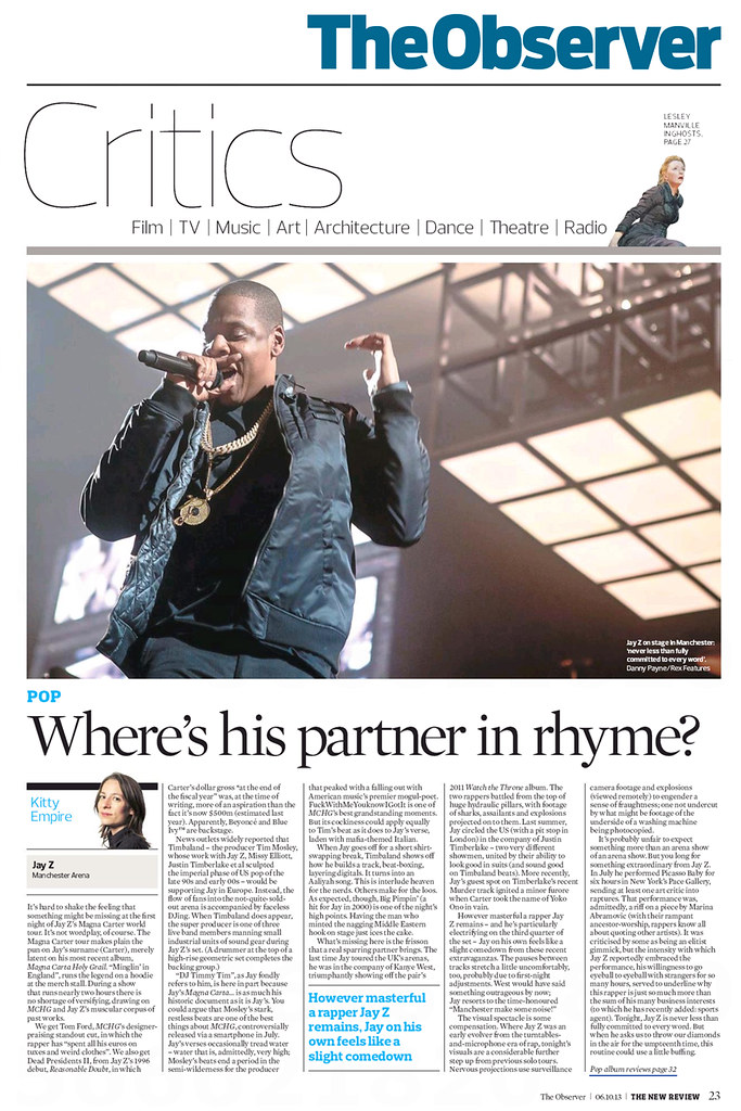 Jay-Z in The Observer