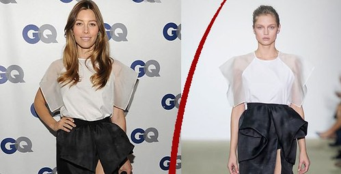 Jessica Biel in Giambattista Valli SS14 monochrome dress
