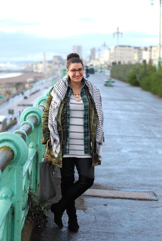 chambray and curls leather trousers, camo jacket, tartan shirt, striped jumper