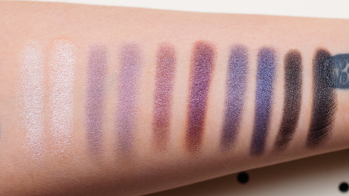 Profusion Twinkle Twinkle 5 Color Eyeshadow Palette 01 - Swatches without primer (L) with primer (R)