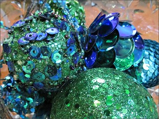Sequined ornaments in a crystal bowl