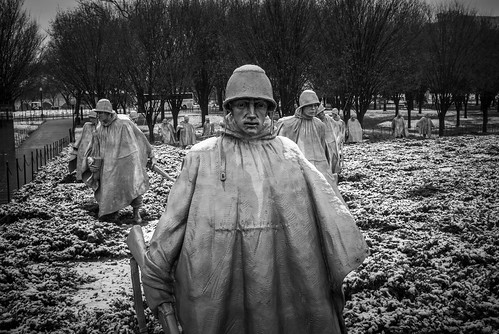 Snow was the most apparent at the Korean War Memorial and somehow the most appropriate.