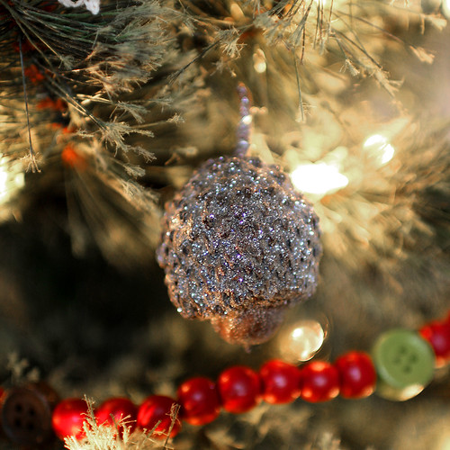 Spray-painted Acorn Christmas Tree Ornament