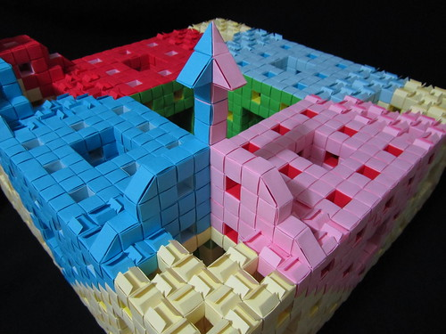 Menger Sponge 3d Level – Playing around  IV –Small Tower (front view)