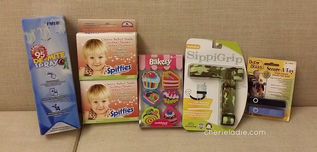 Farlin De-mite Spray, Spiffies Baby Toothwipes, Candylicious Sweet Bakery Eraser Set, SippiGrip (Acts as bottle strap or toy saver), Baby Buddy Secure-A-Toy (toy saver)