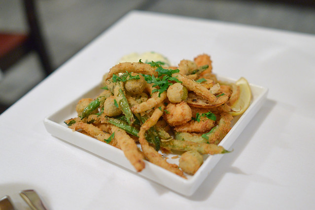 Fritto Misto of Rock Shrimp seasonal beans, olives, fennel, lemon aioli