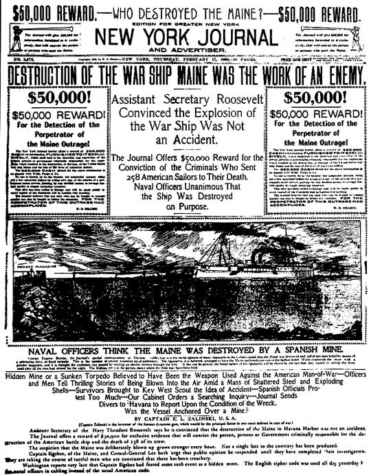 Portada del New York Journal acusando a España del hundimiento del Maine el 1898-02-17