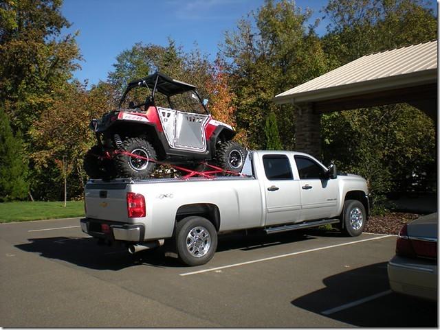 Polaris RZR on Top of ATV Carrier on Chevy Silverado ...