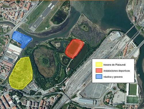 Mapa de Plaiaundi, instalaciones deportivas, trasera de Plaiaundi, gravera y naútica